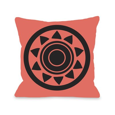 Maya Aztec Circle Throw Pillow Color: Orange Black