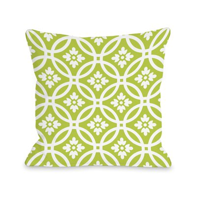 Meredith Circles Throw Pillow Size: 18 H x 18 W, Color: Lime White