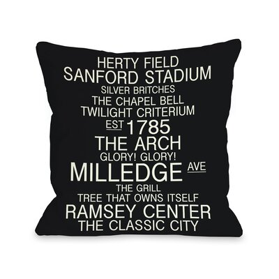 Athens Georgia Landmarks Throw Pillow Size: 18 H x 18 W