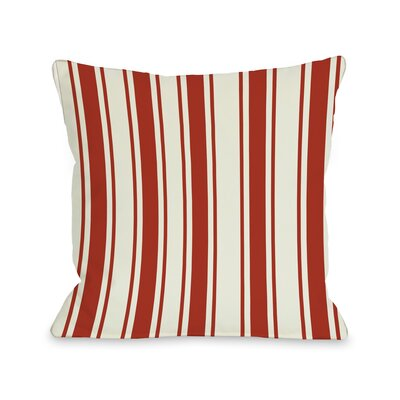 Tri-Stripes Throw Pillow Size: 18 H x 18 W, Color: Red