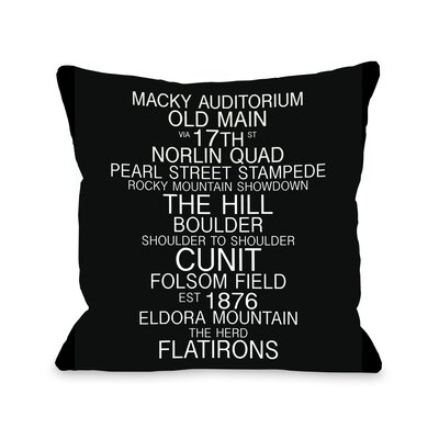 Boulder Colorado Landmarks Throw Pillow Size: 20