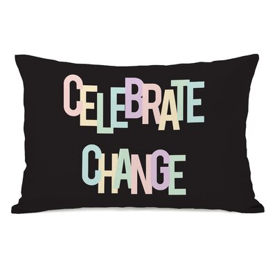 Celebrate Change Lumbar Pillow Color: Black/Pastel