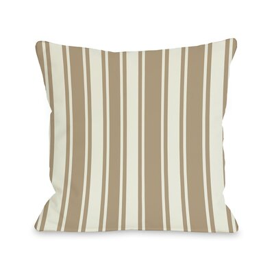 Tri-Stripes Throw Pillow Size: 16 H x 16 W, Color: Tan