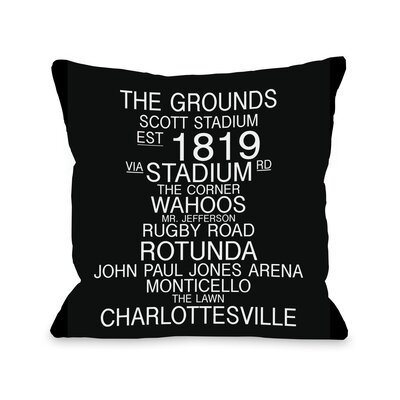 Charlottesville Virginia Landmarks Throw Pillow Size: 20 H x 20 W