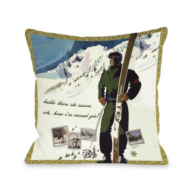 Hello There Ski Season Vintage Ski Fleece Throw Pillow