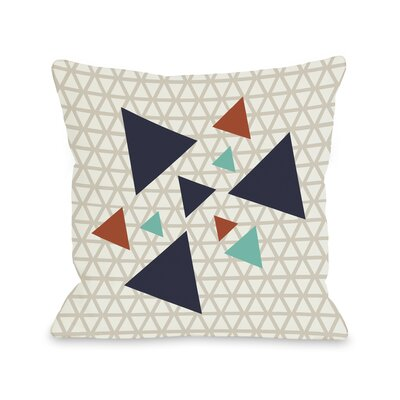 Natasha Geometric Triangles Throw Pillow Color: Oatmeal Navy, Size: 18 H x 18 W