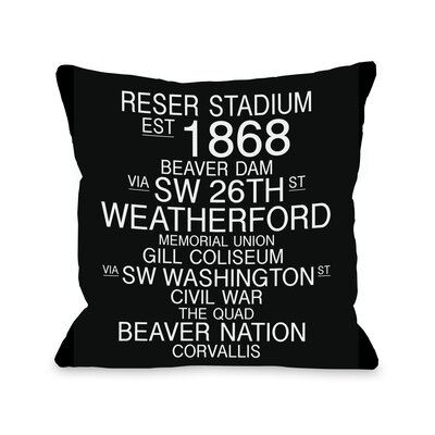 Corvallis Oregon Landmarks Throw Pillow Size: 26 H x 26 W