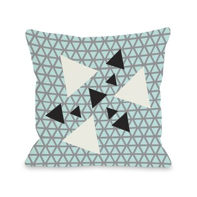 Natasha Geometric Triangles Throw Pillow Size: 16 H x 16 W, Color: Gray Blue