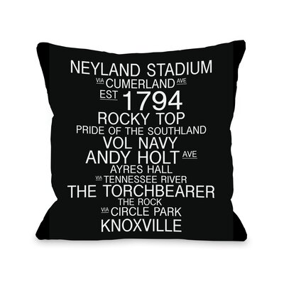Knoxville Tennessee Landmarks Throw Pillow Size: 16