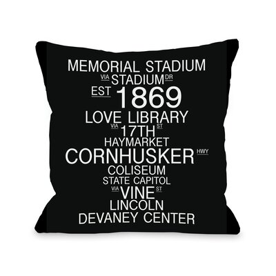 Lincoln Nebraska Landmarks Throw Pillow Size: 18 H x 18 W