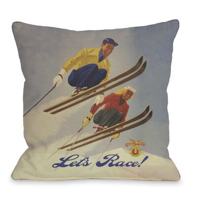 Lets Race Vintage Ski Throw Pillow Size: 18 H x 18 W