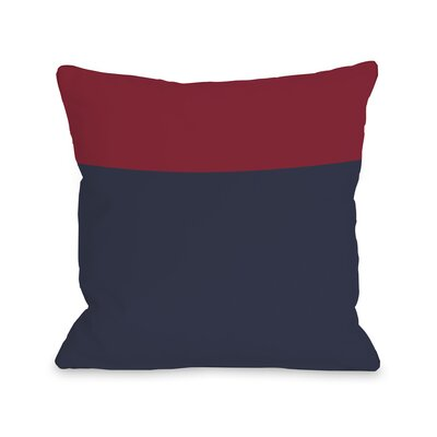 Two Tone Throw Pillow Size: 16 H x 16 W, Color: Navy Red