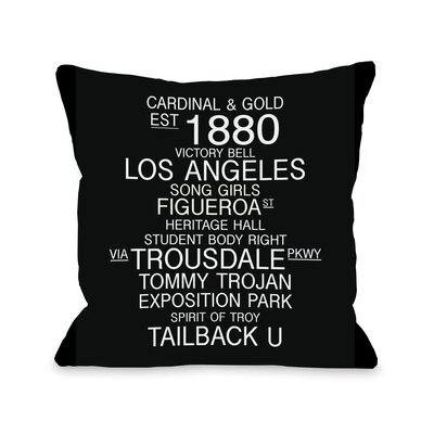 Los Angeles California Landmarks Throw Pillow Size: 18