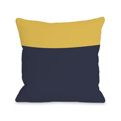 Two Tone Throw Pillow Size: 16 H x 16 W, Color: Navy Yellow
