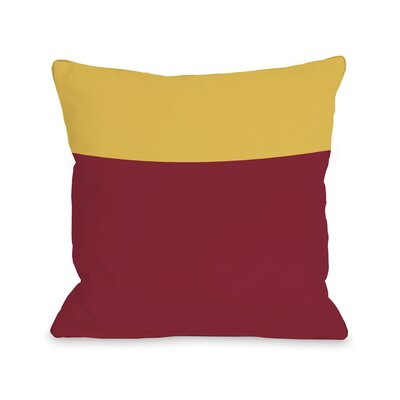Two Tone Throw Pillow Color: Red Yellow, Size: 18 H x 18 W