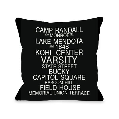 Madison Wisconsin Landmarks Throw Pillow Size: 18