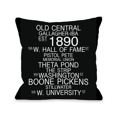 Norman Oklahoma Landmarks Throw Pillow Size: 18 H x 18 W