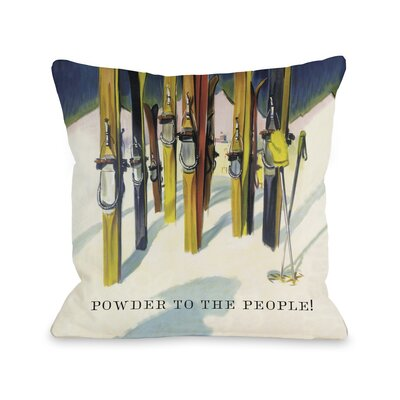 Powder to the People Vintage Ski Fleece Throw Pillow