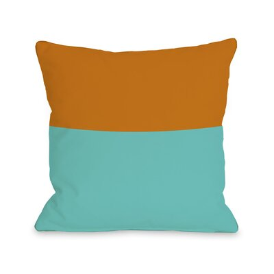 Two Tone Throw Pillow Size: 18 H x 18 W, Color: Turquoise Orange