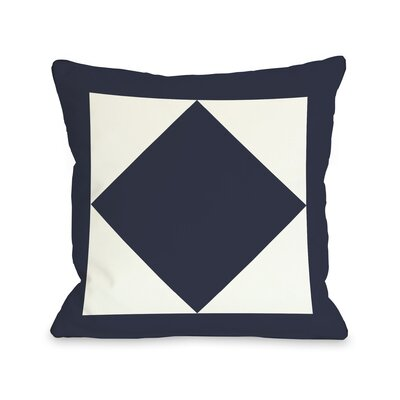 Square and Diamond Throw Pillow Color: Navy, Size: 26 H x 26 W