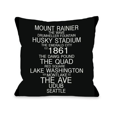 Seattle Washington Landmarks Throw Pillow Size: 26