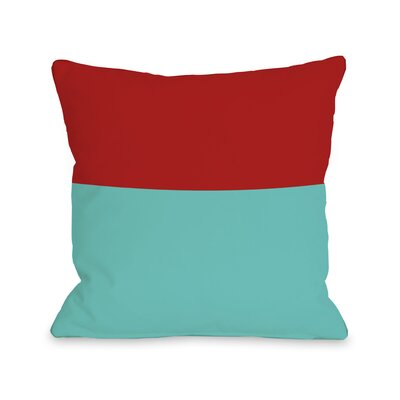 Two Tone Throw Pillow Size: 18 H x 18 W, Color: Turquoise Red