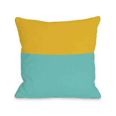 Two Tone Throw Pillow Size: 18 H x 18 W, Color: Turquoise Yellow