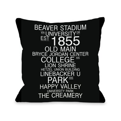 University Park Pennsylvania Landmarks Throw Pillow Size: 18 H x 18 W