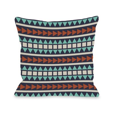 Tobi Print Geometric Throw Pillow Size: 18 H x 18 W, Color: Navy Multi