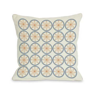 Circles & Flowers Throw Pillow Color: Orange
