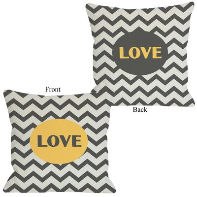Love Chevron Throw Pillow Color: Yellow, Size: 16 H x 16 W