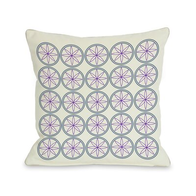Circles & Flowers Throw Pillow Color: Purple