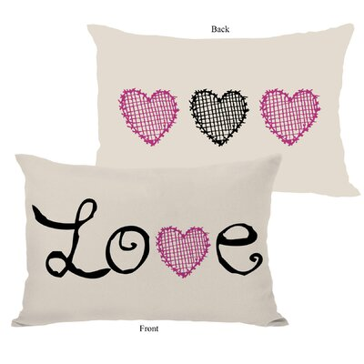 Love Crosshatch Heart Fleece Lumbar Pillow Color: Oatmeal
