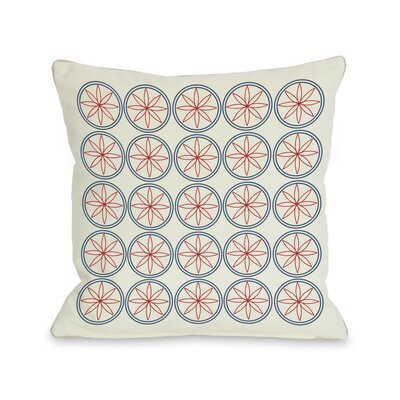 Circles & Flowers Throw Pillow Color: Red