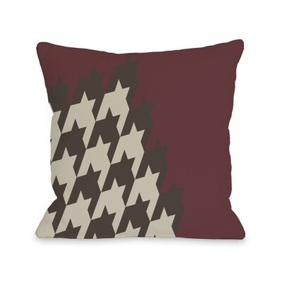 Harry Half Houndstooth Throw Pillow Size: 18 H x 18 W, Color: Oxblood Red