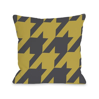 Molly Oversized Houndstooth Throw Pillow Size: 16 H x 16 W, Color: Oil Yellow Gray