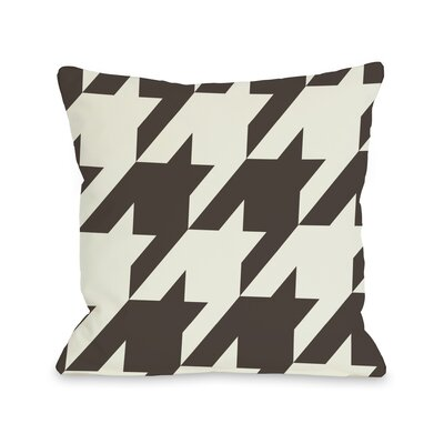 Molly Oversized Houndstooth Throw Pillow Size: 16 H x 16 W, Color: Chocolate Ivory