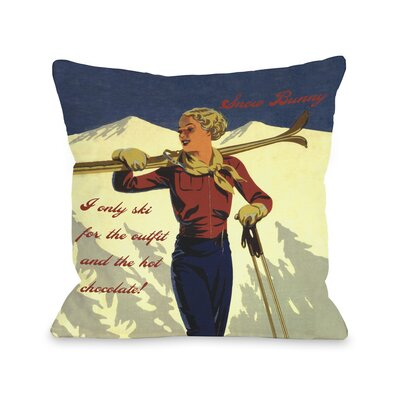 Snow Bunny Vintage Ski Fleece Throw Pillow