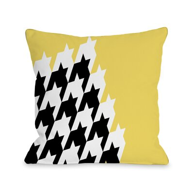 Harry Half Houndstooth Throw Pillow Size: 16 H x 16 W, Color: Lemon