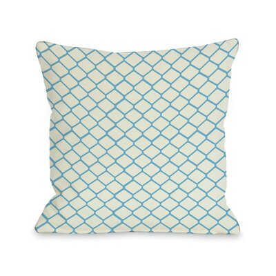 Fence Throw Pillow Size: 16 H x 16 W, Color: Ivory Light Blue