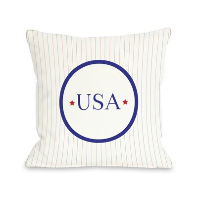 USA Pinstripes Throw Pillow Size: 18 H x 18 W