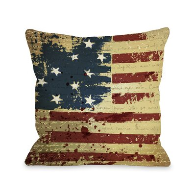 Vintage American Flag Fleece Throw Pillow Size: 16