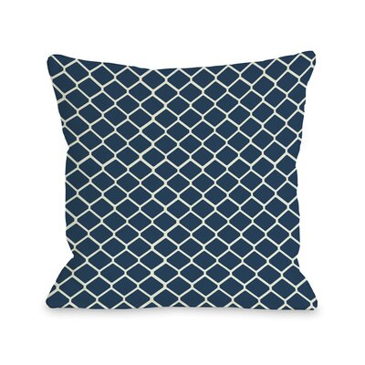 Fence Throw Pillow Size: 16 H x 16 W, Color: Navy Ivory
