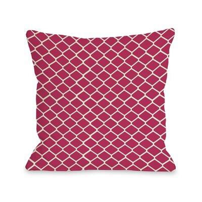 Fence Throw Pillow Color: Raspberry Ivory, Size: 18 H x 18 W