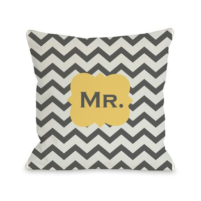 Mr Chevron Throw Pillow Size: 18 H x 18 W