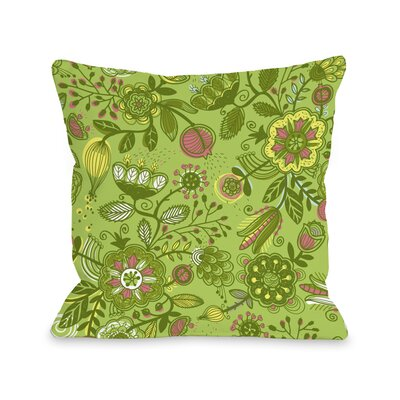 Quirky Florals Throw Pillow Size: 16 H x 16 W x 3 D, Color: Green
