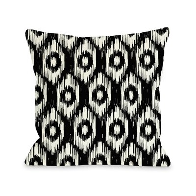Kelly Ikat Throw Pillow Color: Black Ivory, Size: 16 H x 16 W