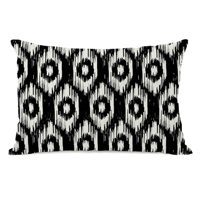 Kelly Ikat Lumbar Pillow Color: Black Ivory