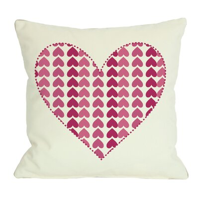 Repeating Heart Throw Pillow Size: 18 x 18