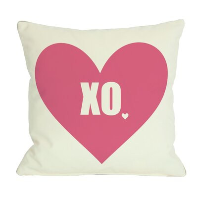 XO Heart Throw Pillow Size: 18 H x 18 W